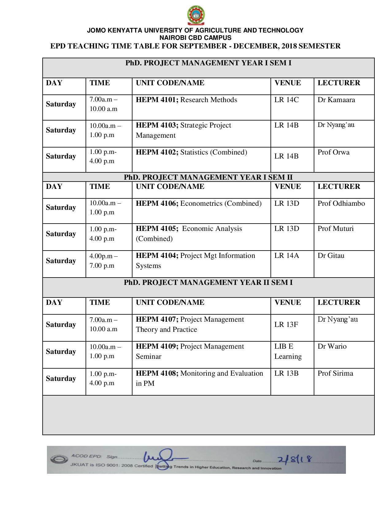 Teaching Time table Sept Dec 2018 EPD page 003 JKUAT