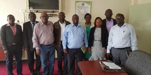 Mr. Jamleck Ngugi(Centre), Ag. Deputy University Librarian in charge of Technical Services with a team from the Library and ICT representative met with staff of Technology Partners to chart the way forward for an MOU
