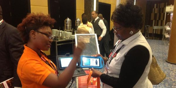 Dr. Roselyne Mangira (on the right)  at the e Learning Africa's 11th International Conference on ICT for Development, Education and Training held at the Royal Maxim Palace, Kempinski Hotel, Cairo from 24th to 26th May 2016.
