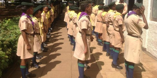 Guard of Honor Parade mounted by JKUAT Primary School Scout during JKUAT Book Donation 2/02/2017