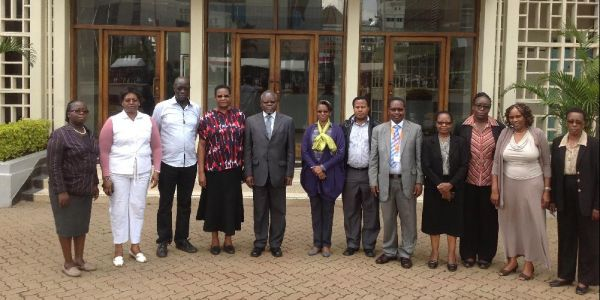 From left Dr B. Kwach, Dr R. Mangira, Mr Raymond Ochoggia, Dr S. Kaane, Vice Chancellor TUK, Prof Francis Aduol. Second from right Ms. Sarah Kibugi