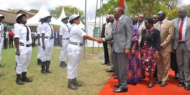 President Kenyatta inspects a guard of honour mounted by JKUAT marine engineering students