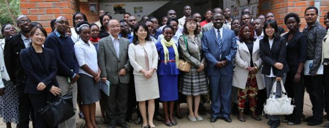 SCDS management poses for a photo with University management and Japanese representatives during a graduation for Japanese language students